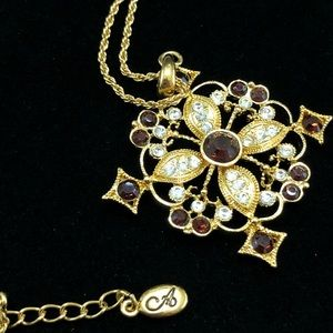 Accessorize Gold Tone Long Medallion Necklace Red